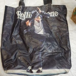 the Rolling Stones Bags - Michael Jackson Rolling Stone Tote Bag